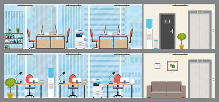 Two floors of Modern office, empty workplace interior with furniture, business center or coworking space, flat vector illustration