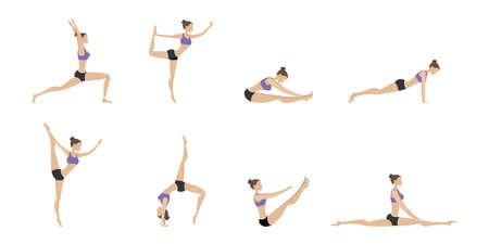 Set of female in different yoga poses, Isolated On White Background, Vector Illustration Illusztráció