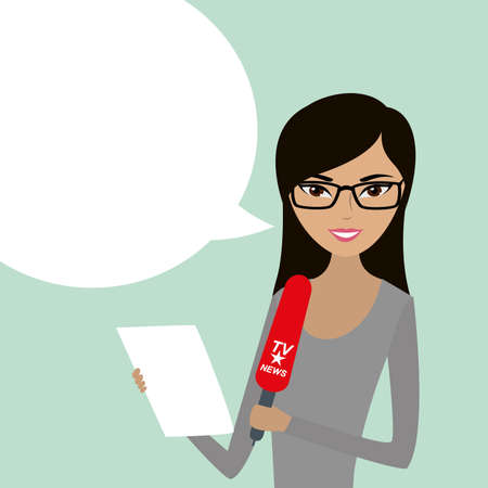 Female reporter with microphone and white bubble speech, cartoon vector illustration