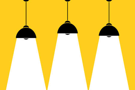 Three lamp bulbs on yellow background, part of moderm interior and place for text, cartoon stock vector illustration