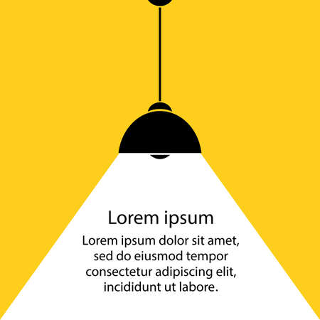 lamp bulb on yellow background, part of moderm interior and place for text, cartoon stock vector illustration