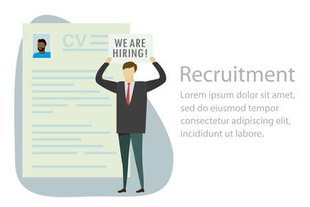 Page with cv, Businessman and plate with text- we are hiring, human resource recruitment concept, Character in trendy simple style, flat vector illustration 向量圖像