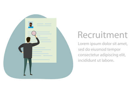 Recruitment process, selecting candidate by human resource, businessman select from printed cv resume, vector illustration in trendy simple flat style