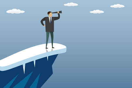 Businessman on top of a mountain with a telescope, business concept in trendy style, vector illustration flat design