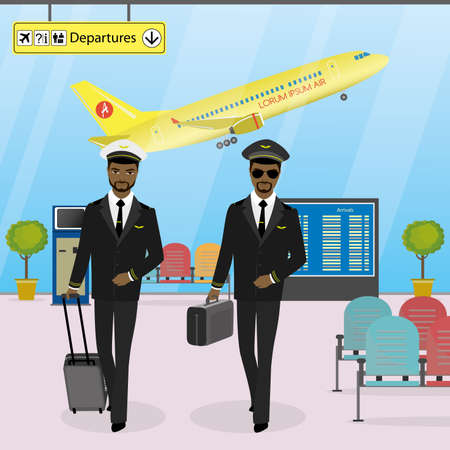 Cabin crew walks on an modern airport with luggage, pilots in uniform, airport interior and furniture, cartoon vector illustration