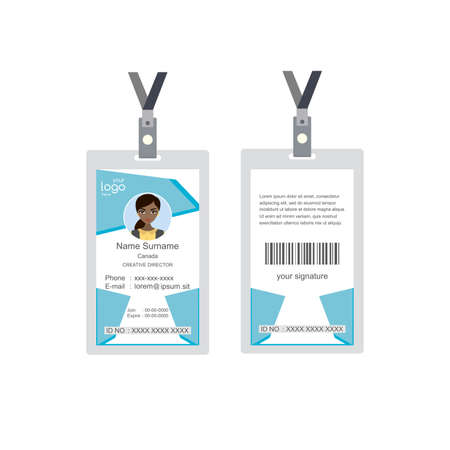 Plastic and Laminated Badge or id card, front and back view, isolated on white background, flat template, vector illustration