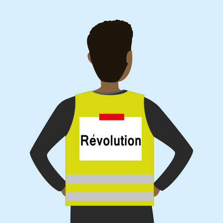 Man wearing a yellow vest, back view, text on back- revolution, yellow vests movement.Antigovernment protests concept, vetor illustration 向量圖像