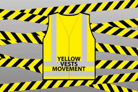 Ribbons, Yellow vest and text- yellow vests movement.Antigovernment protests concept, vetor illustration 向量圖像