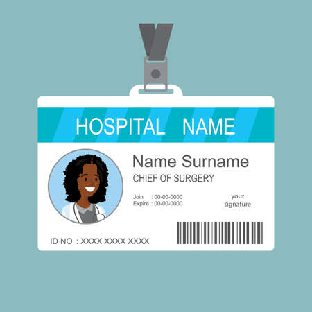 Plastic and Laminated Medical Badge or id card, doctor female face, flat template, vector illustration