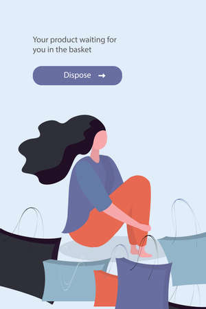 Banner or web page template, shopping girl sitting with shopping bags, place for text, trendy flat vector illustration