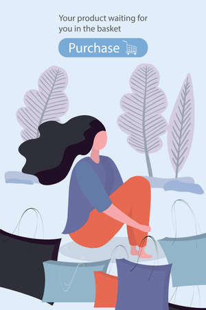Shopping girl sitting with shopping bags, Banner or web page template, place for text, trendy flat vector illustration