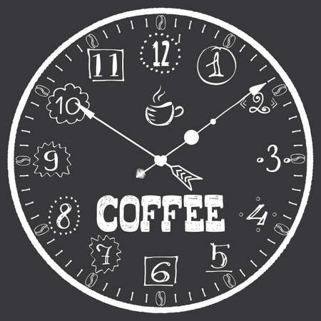 Hand drawn watch with cofee lettering, coffee break concept banner, vector illustration 矢量图像