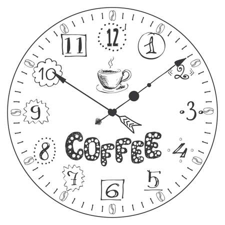 Hand drawn watch with cofee lettering, coffee break concept banner, vector illustration Çizim