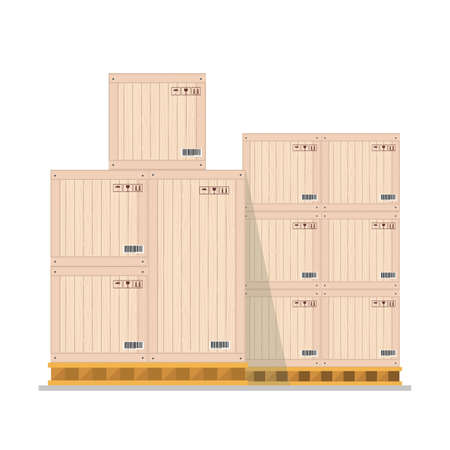 Boxes on wooded pallet, warehouse parcel wooden boxes stack front view, isolated on white background, flat vector illustration