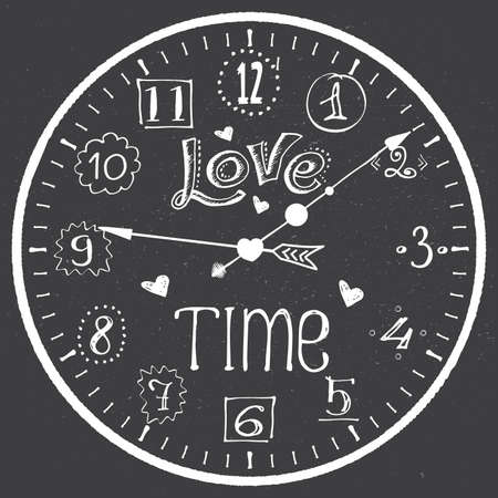 Hand drawn watch with love time lettering and hearts, break concept banner, vector illustration Çizim