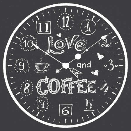 Hand drawn watch with love cofee lettering, coffee break concept banner, vector illustration