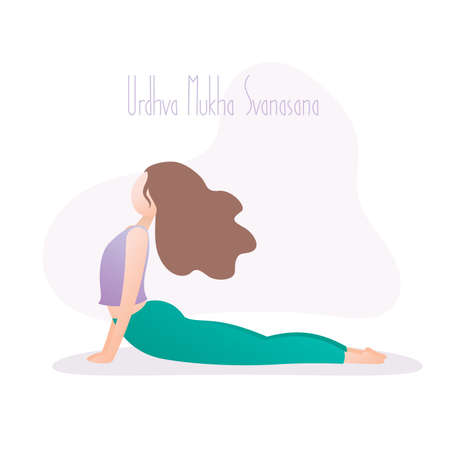 Girl in yoga pose, Upward Facing Dog Pose is a back-bending asana in hatha yoga, vector illustration in trendy style
