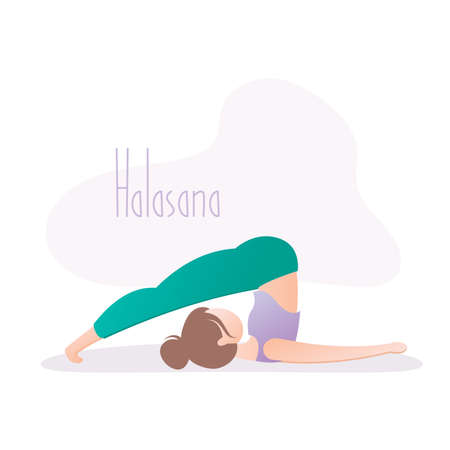 Woman doing yoga pose, Plow Pose or Halasana asana in hatha yoga, vector illustration in trendy style Ilustracje wektorowe