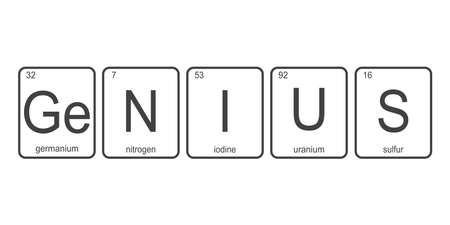 The chemical elements of the periodic table, funny phrase -Genius on white background, vector illustration.