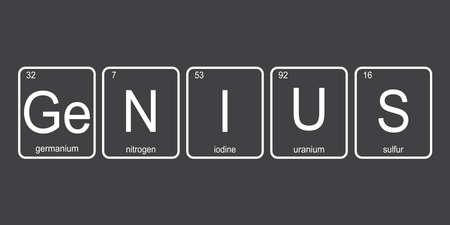 The chemical elements of the periodic table, funny phrase -Genius on dark background, vector illustration. Vektorgrafik