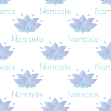Seamless pattern with lotus flower and namaste text, abstract texture, vector illustration