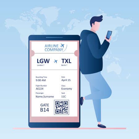 Male traveler with smartphone, online check-in, Airline boarding pass ticket with barcode code.Hipster character in profile view, Vector illustration in trendy style