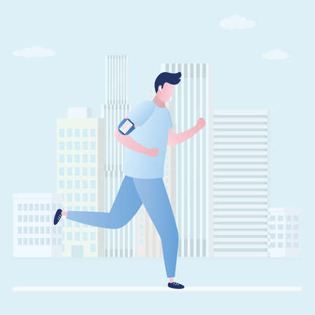 Beauty and slim jogging caucasian man, outdoor fitness, urban view on background, trendy flat vector illustration