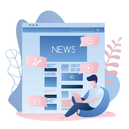 News web page or mobile application and hipster guy with laptop sitting on chair, male character in trendy simple style, vector illustration flat design