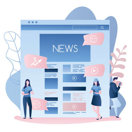 News web page or mobile application and different people using smartphones, male and female characters in trendy simple style, vector illustration flat design Vettoriali