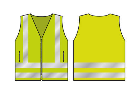 Yellow reflective safety vest for people, front and back view uniform template, isolated on white background, flat vector illustration.