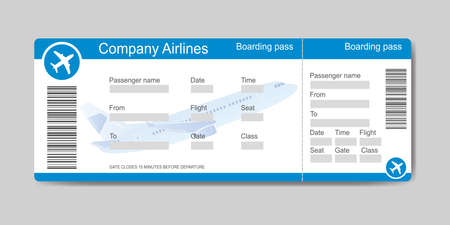 Boarding pass template, airplane ticket, empty place for text, flat vector illustration