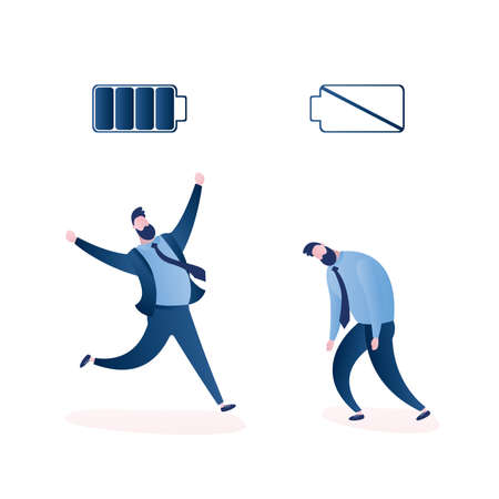 Happy strong businessman with full battery and sad powerless office worker with low battery, isolated on white background, trendy style vector illustration