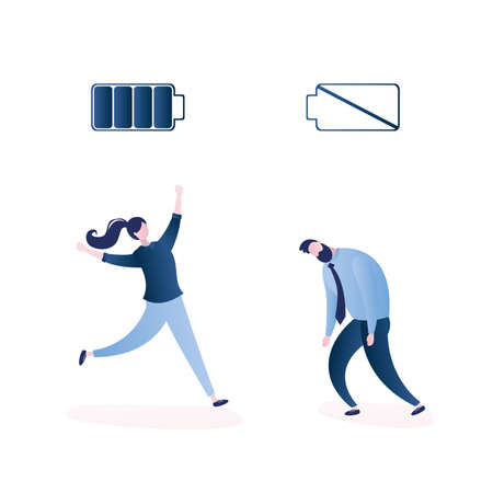 Happy strong businesswoman with full battery and sad powerless office worker or businessman with low battery, isolated on white background, trendy style vector illustration