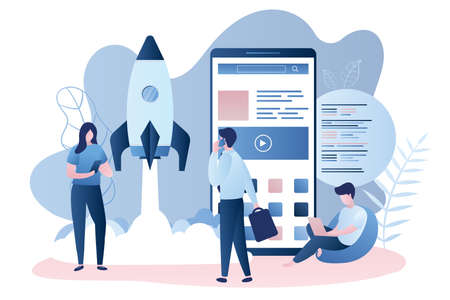 Big modern smartphone with new application, business people and programmer, Development team, startup concept with take off spaceship, trendy style vector illustration