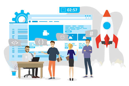 Application or web site development, new online startup, cartoon business people and programmers, spaceship take-off, front-end and back-end coding, flat vector illustration Ilustración de vector