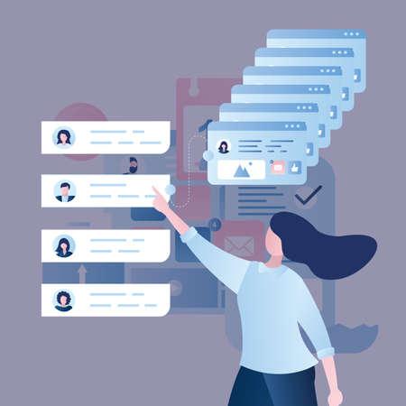 Business team building or recruitment concept. Businesswoman makes a choice of various resumes, online interview, trendy style vector illustration Vektoros illusztráció