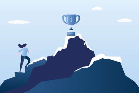 Businesswoman or office worker climbs a mountain, winner cup on top, struggle for leadership and road to success concept, trendy style vector illustration