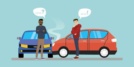Car crash cartoon banner.Car accident concept, two unhappy male characters, flat vector illustration