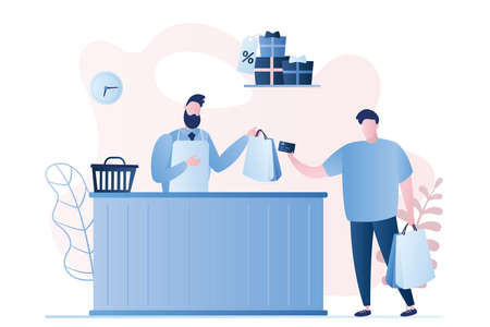 Male buyer and seller in a store, payment by card, man character with shopping bags in hands, gifts with sale label, seller guy behind the counter, trendy style vector illustration Vetores
