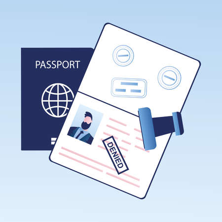 Open passport with stamp -denied, visa denial or deportation, problem with immigration, trendy style vector illustration Vector Illustration