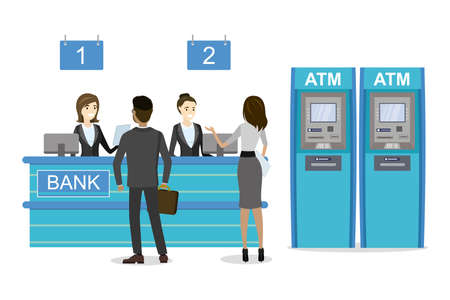 Male and female clients standing and talking to managers of bank or credit department. ATM Bank Cash Machines. Illustration isolated on white background, flat vector Vector Illustration