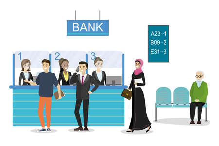 Cartoon people characters in queue in the bank.Male and female clients standing and talking to managers of bank or credit department.Illustration isolated on white background, flat vector