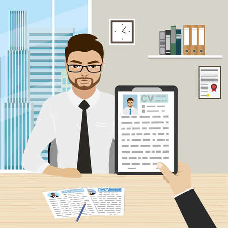 Job candidate interview, cartoon businessman or office worker and cv resume in hand. Office room interior.Male character. Vector illustration flat design