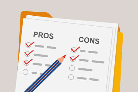 Pros and cons concept of decision making process. Listing positive and negative for a business solution. Folder with paper and pencil. Flat vector illustration