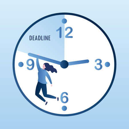 Caucasian businesswoman hangs on the clock, deadline concept with watch and female character, vector illustration in trendy style Vettoriali