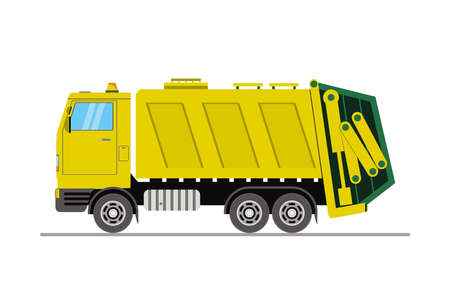 Yellow garbage truck side view, cartoon vehicle isolated on white background, flat vector illustration