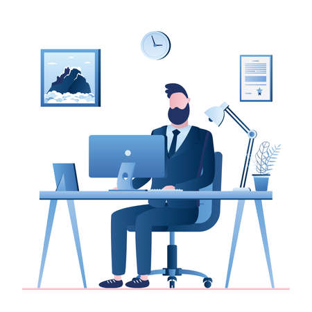 Handsome businessman or clerk on modern workplace. Office interior with furniture. business workspace and male character isolated on white background, trendy style vector illustration
