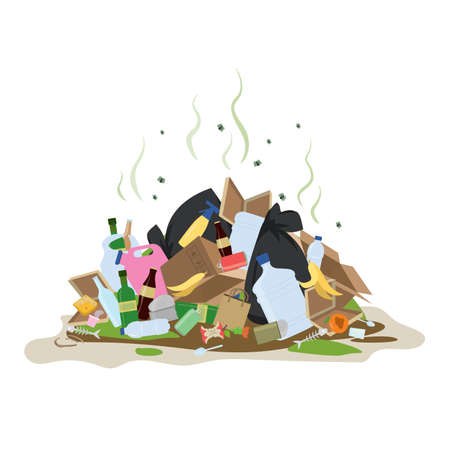 Big smelly pile of garbage. Bad smell trash. Waste recycling. Isolated on white background. Flat vector illustration