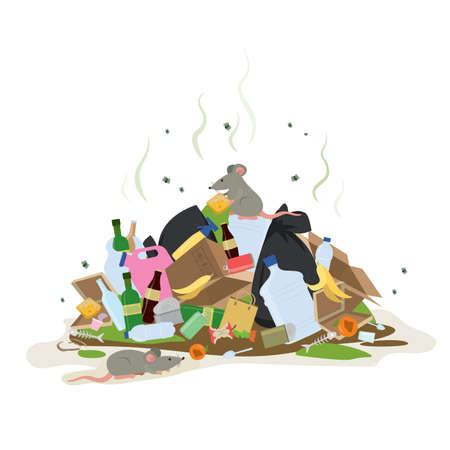 Big smelly pile of garbage. Bad smell trash. Waste recycling.Cartoon mouse or rat on top. Isolated on white background. Flat vector illustration Vektorové ilustrace