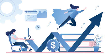 Businesswoman working and flying like superhero with briefcase. Successful female trader or employee in the workplace. New start up venture concept on white background. Trendy style vector illustration
